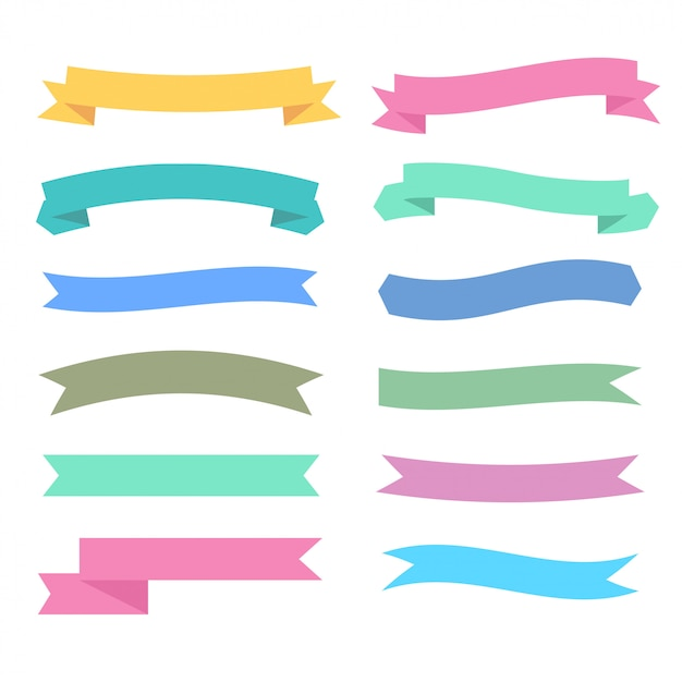 soft colors ribbons set in different styles Free Vector
