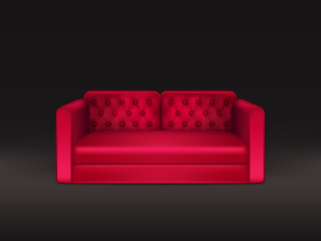 Soft and comfortable, classic design sofa with red leather or fabric upholstery Free Vector