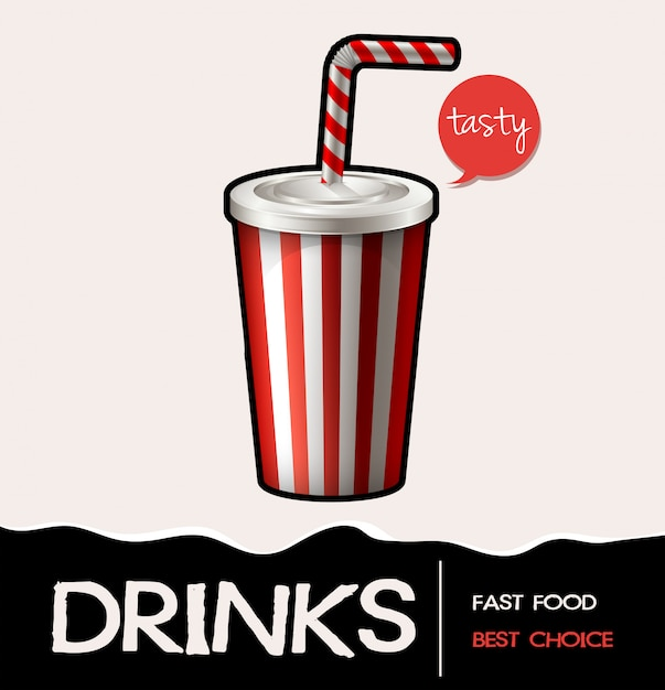 Soft drink in cup banner Free Vector