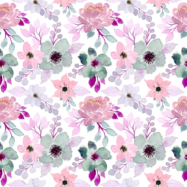 Soft floral watercolor seamless pattern Premium Vector