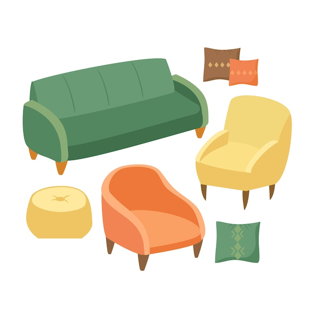 Soft furniture set Free Vector