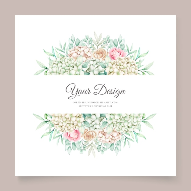 柔らかい緑の花の結婚式の招待カードセット 無料ベクター