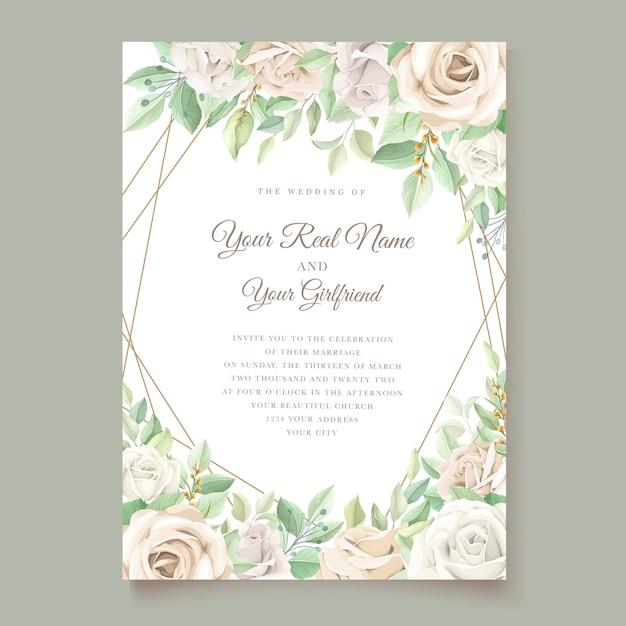부드러운 녹색 꽃 결혼식 초대 카드 세트 무료 벡터