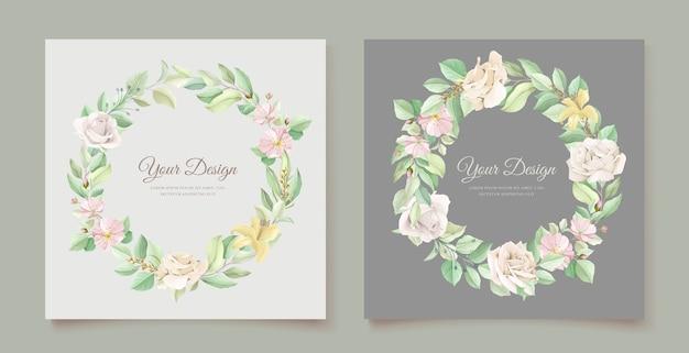 Set di carte invito matrimonio floreale verde morbido Vettore gratuito