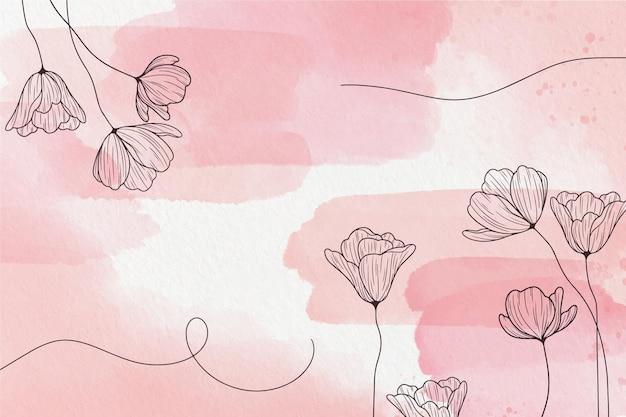 꽃과 부드러운 파스텔 배경 프리미엄 벡터