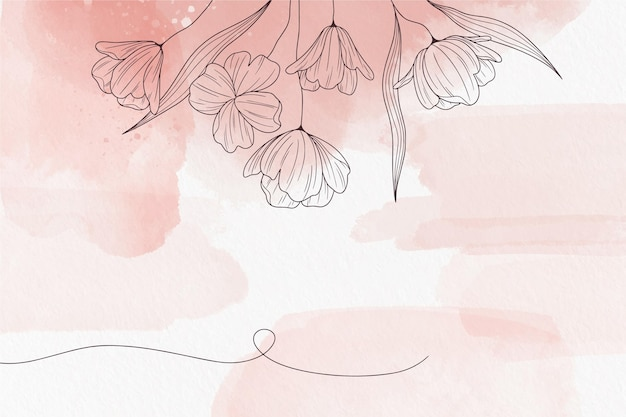 Soft pastel background with flowers Free Vector