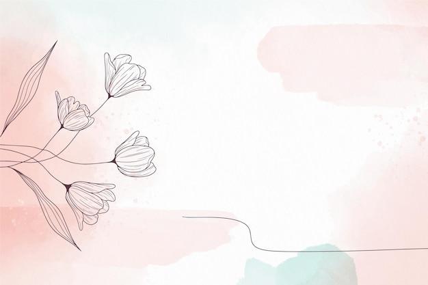 꽃과 부드러운 파스텔 배경 무료 벡터