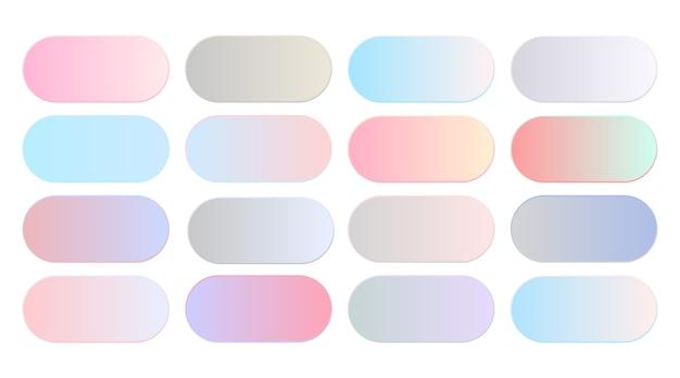 Soft pastel color gradients combination big set Free Vector