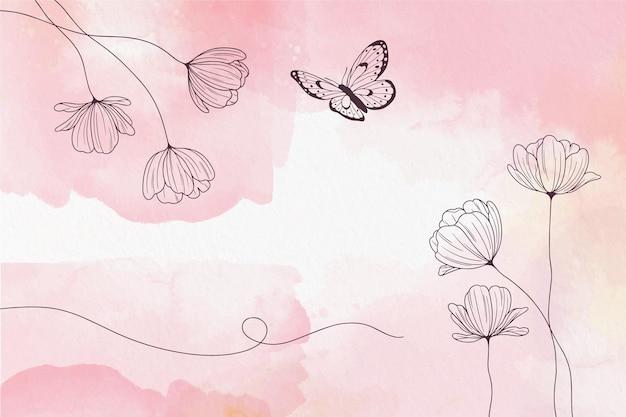 꽃과 부드러운 파스텔 벽지 무료 벡터