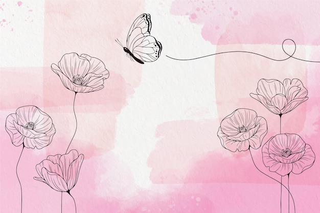 Soft pastel wallpaper with flowers Free Vector