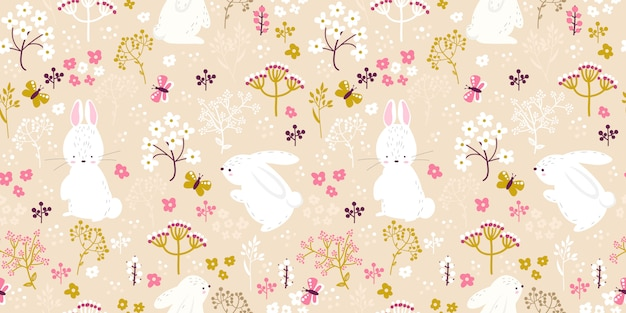 Soft pink floral and bunny illustration in seamless pattern Premium Vector