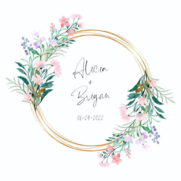 골든 프레임과 부드러운 분홍색 보라색 야생 꽃 프리미엄 벡터