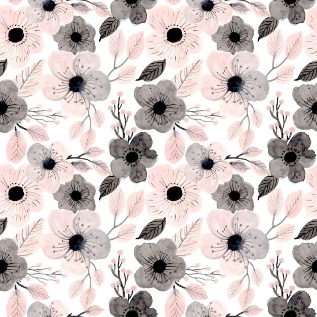 Soft pink watercolor floral seamless pattern Premium Vector