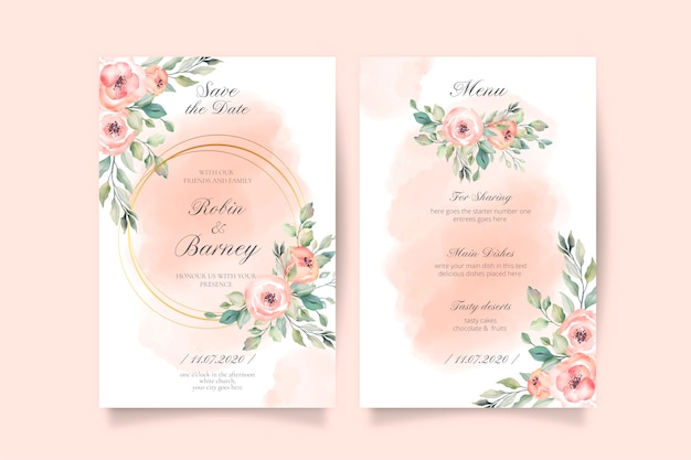 Soft pink wedding invitation and menu template Free Vector