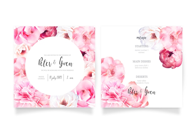 Soft pink wedding invitation template with menu Free Vector