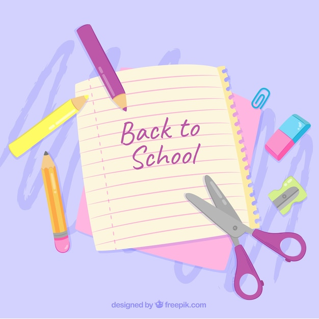 Soft purple back to school design