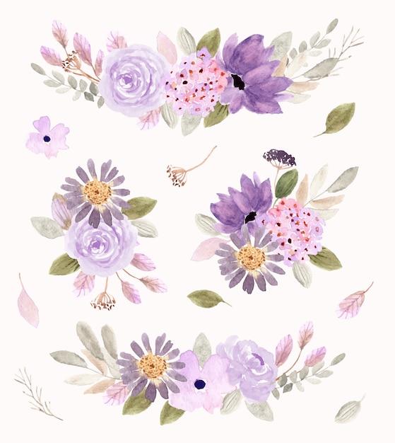 Мягкая фиолетовая цветочная композиция акварельная коллекция Premium векторы