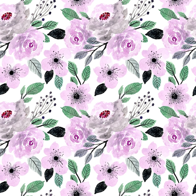Soft purple and green watercolor floral seamless pattern Premium Vector