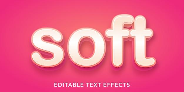 부드러운 텍스트 3d 스타일 편집 가능한 텍스트 효과 프리미엄 벡터