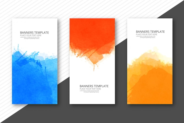 Soft watercolor colorful template banners set vector design Free Vector