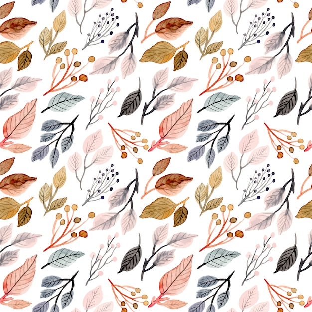 Soft watercolor leaves seamless pattern Premium Vector