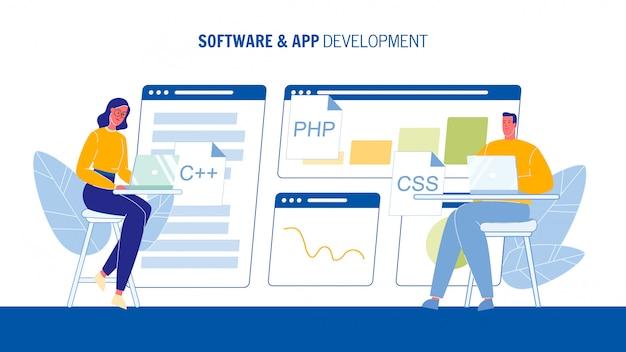 Software and app development web banner template Premium Vector
