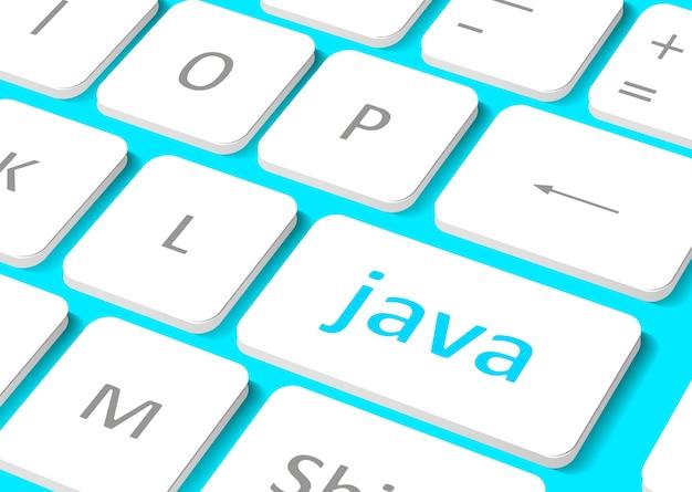 Концепция программного обеспечения. кнопка java на клавиатуре компьютера. Premium векторы