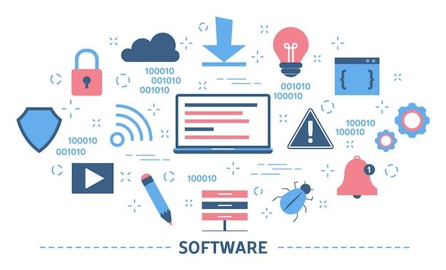 ソフトウェアの概念。プログラミングとコーディングのアイデア Premiumベクター
