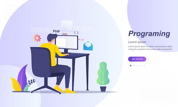 ソフトウェア開発者およびコンピュータスクリプトコーディング Premiumベクター