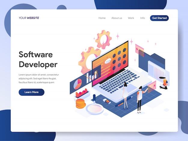 Software developer banner of landing page Premium Vector