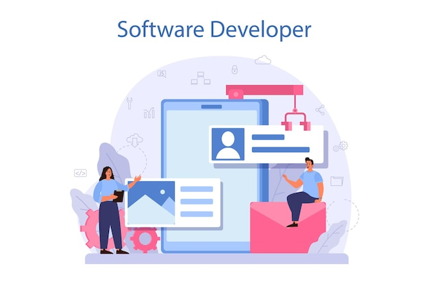 Концепция разработчика программного обеспечения. идея программирования и кодирования, разработка системы. цифровая технология. компания-разработчик программного обеспечения пишет код. отдельные векторные иллюстрации Premium векторы