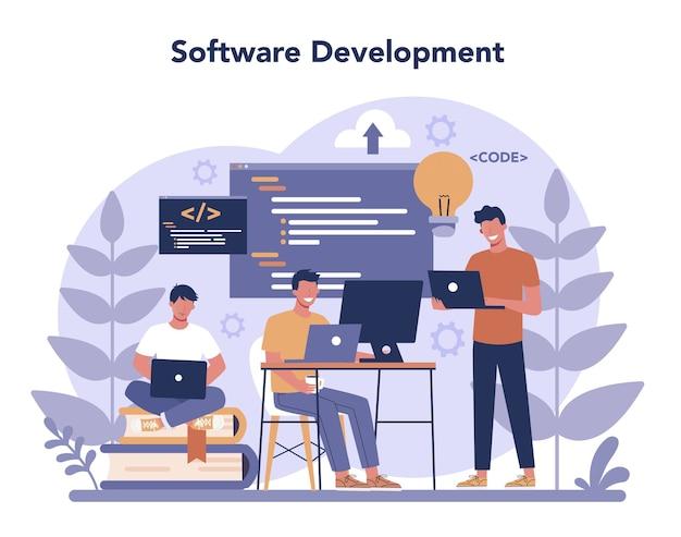 ソフトウェア開発者の概念。プログラミングとコーディング、システム開発のアイデア。デジタル技術。コードを書くソフトウェア開発会社。 Premiumベクター