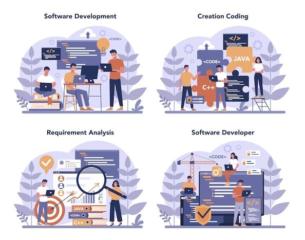 Набор концепции разработчика программного обеспечения. идея программирования и кодирования, разработка системы. цифровая технология. компания-разработчик программного обеспечения пишет код. отдельные векторные иллюстрации Premium векторы