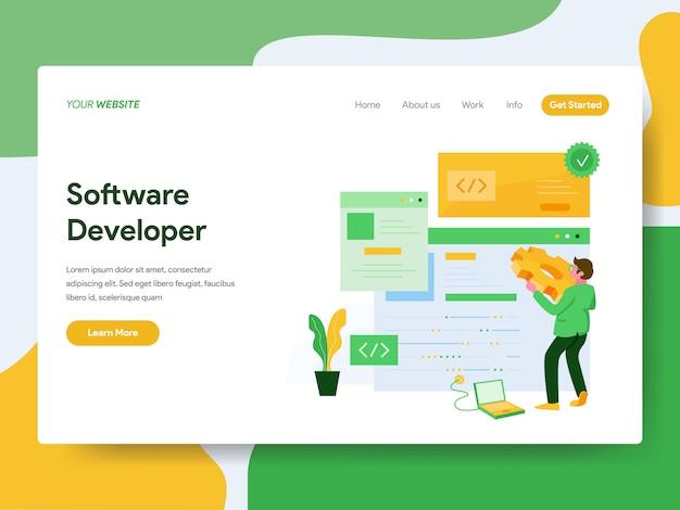 Software developer for website page Premium Vector