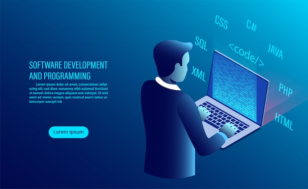 Software development and coding. programming of concept. data processing. computer code with window interface. Premium Vector