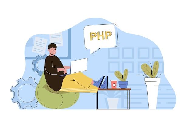Software development concept programmer writes code develops programs