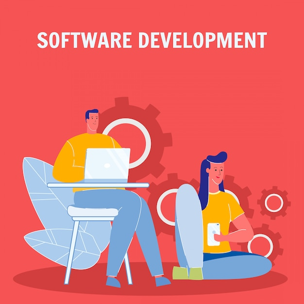 Software development flat vector poster with text Premium Vector