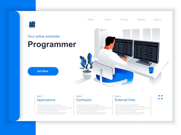 Software development isometric landing page. programmer working with computer in office situation. web application programming and testing, frontend and backend development perspective flat design. Premium Vector