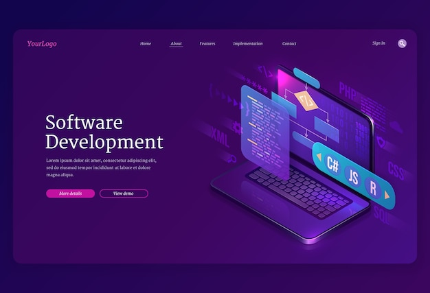 ソフトウェア開発の等尺性ランディングページ。ウェブサイトまたはプログラムコーディングクロスプラットフォーム、コンピューター画面上のアルゴリズムプログラミング言語インターフェース、テクノロジープロセス、アプリ作成3dバナー 無料ベクター