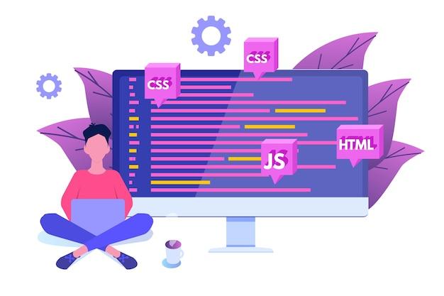 ソフトウェア開発、プログラマーの仕事。ビッグデータ処理。 Premiumベクター