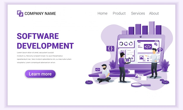 Software development and programmers  landing page Premium Vector