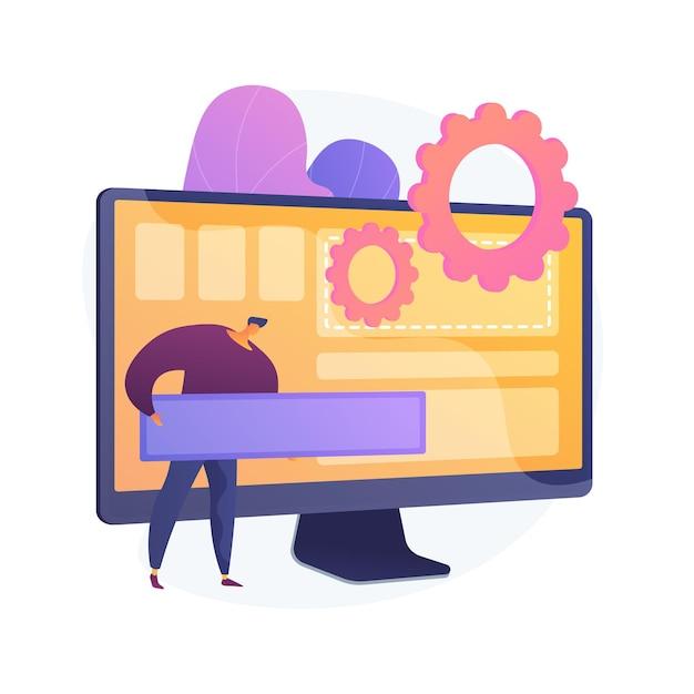 ソフトウェア開発、プログラミング、アプリケーションインターフェイス。コンピューターアプリの近代化、pcの最適化、プログラムの設定。プログラマーの漫画のキャラクター。ベクトル分離された概念の比喩の図。 無料ベクター
