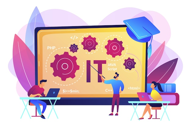 Software development. programming, coding learning. information technology courses, it courses for all levels, computing and hi tech course concept. Free Vector