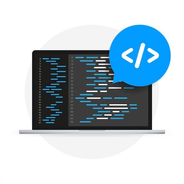 Software development, programming, coding vector concept. Premium Vector