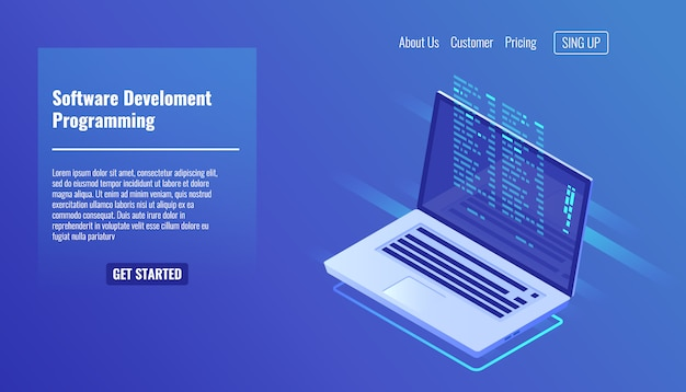 Software development and programming, program code on laptop screen Free Vector