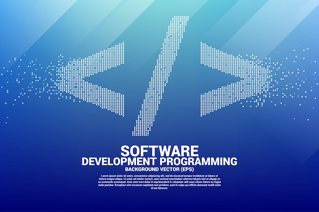 Software development programming tag icon with square dot pixel. Premium Vector