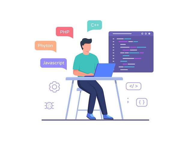 ソフトウェアエンジニアは、ラップトップに取り組んでいる椅子に座り、フラットな漫画スタイルのプログラミング言語コードを使用します。 Premiumベクター