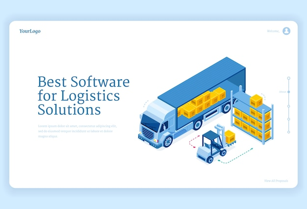 Software for logistics solutions isometric landing page Free Vector