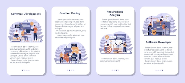 Набор баннеров для мобильных приложений. идея программирования и кодирования, разработка системы. цифровая технология. компания-разработчик программного обеспечения пишет код. Premium векторы