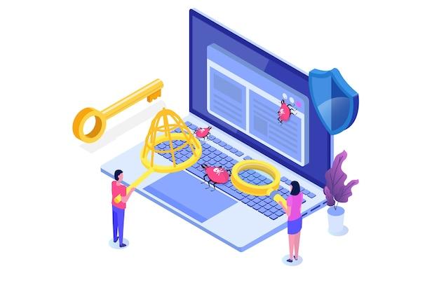 ソフトウェアまたはアプリケーションのテストアイソメトリックコンセプト。開発プロセスのデバッグ。 Premiumベクター